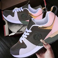 LV Louis Vuitton Hot Sale Women Men Fashionable Sport Shoes Couple Sneakers Army Green/Pink
