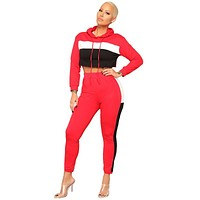Hot Sale Women Color Blocking Long-sleeve Cropped Hoodies And Pants Set