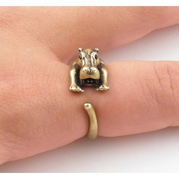 Animal Wrap Ring - Hippo - Bronze - Adjustable Ring - keja jewelry