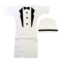 Baby Boys' White Tuxedo Bunting Gown Set with Black Lapels