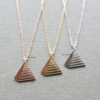 Pyramid charm pendant necklace / Triangle Necklace /  geometric necklace - Available color as listed ( Gold, Silver, Pink Gold )