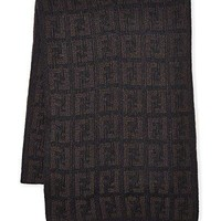 Fendi Women's Men's Knit Tonal Zucca Monogram Wool Scarf, Brown