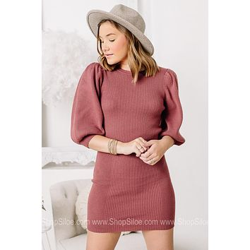 Yes You're Worth It Sweater Dress  | Marsala