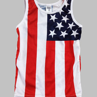 Red & White American Flag Sublimated Tank - Toddler & Kids