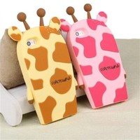 Topit Cute Cartoon 3d Giraffe Series Soft Silicone Back Cases Covers for Apple for Iphone 6 (4.7-inch) + 1 Pcs Wristband (Giraffe Yellow)