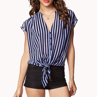 Vertical Striped Front-Tie Shirt | FOREVER21 - 2023462617
