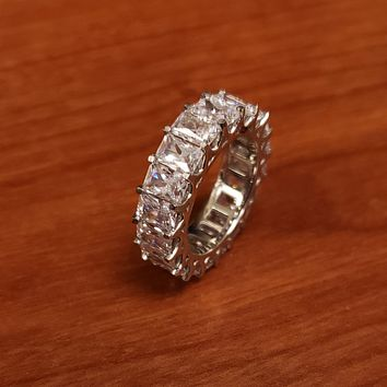 Cubic Zirconia Ring-*Clearance* Cubic Zirconia Anniversary Ring Band, Style S12-3391 (Radiant Eternity) in Platinum
