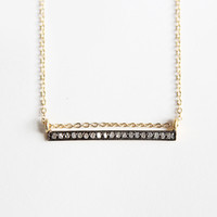 Straight Bar Diamond Black Gold Necklace