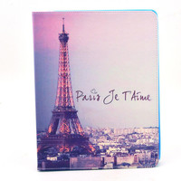 Lovely Owl Flower Paris Tower Flip Cover Protective Skin Cartoon Leather Case for iPad 2/3/4 iPad 2 3 4