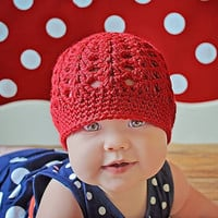 Little Girls Hat Red Crochet Baby Beanie, MADE TO ORDER, Childrens Clothing