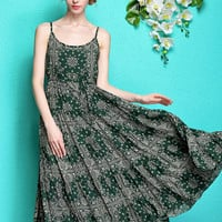 Dark Green Spaghetti Strap Paisley Print Maxi Dress