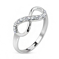 Infinitude - FINAL SALE Cubic zirconia studded infinity symbol rhodium plated brass ring