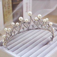 New Sparkling Crystal Pearl Tiara Crown Bridal Hair Accessories For Wedding Quinceanera Tiaras And Crowns Pageant Diamante Tiara