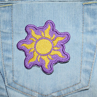 Sun, Sunshine, Purple, Rapunzel Flag inspired Iron-on Embroidered Patch