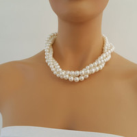 Ivory Pearl Wedding Necklace with three strands