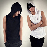New Men Fashion Sleeveless Loose Hoody Solid Tank Tops Pullover Hoodies Casual T-Shirt D_L = 1712880196