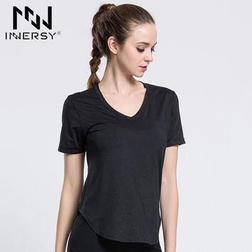 Innersy Summer Stretch Quick-drying Sports Shirt Hollow Out Mesh Back V-neck Short Sleeve Yoga Running Fitness Shirts Jzh104