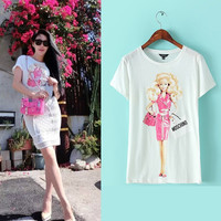 Barbie Doll Print Casual T-Shirt