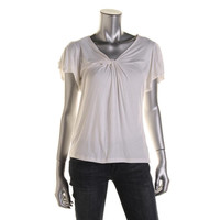 Fever Womens Jersey Flutter Sleeves Pullover Top