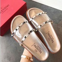 Valentino Summer Popular Girl Women Rivet Sandal Slipper Shoes Silvery I/A