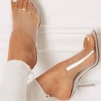 Clear Mules Peep Toe Sandal High Heels