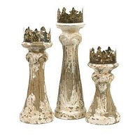 Set of 3 Feliciano Handcarved Wood Candleholders