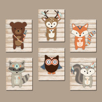 TRIBAL Nursery Wall Art, Canvas or Prints, Whimsical Woodland Animals, Indian Feathers, Forest Animal Tribe, Woodland Baby Decor Set of 6
