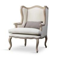 Baxton Studio Auvergne Wood Traditional French Accent Chair Set of 1