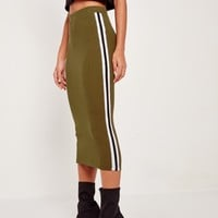 Missguided - Rib Side Stripe Midi Skirt Khaki