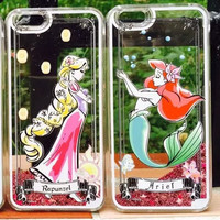 Snow White Mermaid Ariel Tinker Bell Elsa Bling Liquid Quicksand Case for iPhone 5 5S 6 6Plus Glitter Case