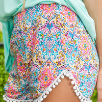 Summer Printed Fringed Shorts