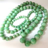 290ct GIA Certified 10.20mm Natural Green Jade Bead Necklace