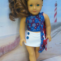 """for American Girl doll """"Buttons and Stars""""  4 piece reversible halter ensemble (18 inch)summer top, skort,  purse, and hair clip Patriotic"""