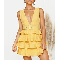 Fashion New Solid Color V-Neck Leisure Vest Dress Women Yellow
