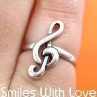 Treble Clef Musical Note Ring in Silver Only Size 6.5 Available
