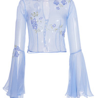 Chiffon Blouse with Wide Sleeves And Embroidered Flowers | Moda Operandi