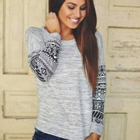 Gray Tribal Print Sweater