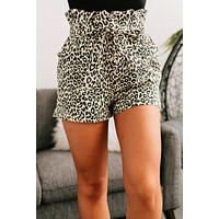 On the Prowl Paper Bag Shorts (Beige/Leopard)