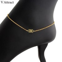 V Attract Bohemia Jewellery Geometric Square Charm Bracelet Cheville 2018 Gold Stainless Steel Foot Jewelry Gold Anklets