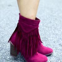 Shake It Fringe Boots - Burgundy