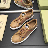 Burberry Men's Canvas Leather Fashion Low Top Sneakers Shoes