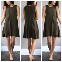 A Sophie Tee Dress in Army Green