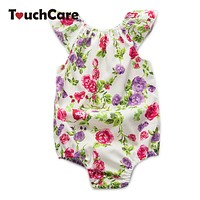 Flying Sleeve Baby Clothes born Rose Floral Baby Girl Romper Jumpsuit Infant Baby Rompers Summer Clothing