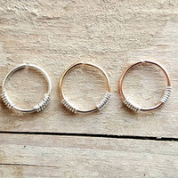 Nose Ring Cartilage ring Helix Earring Yellow/Rose Gold Fill sterling silver  Wrapped Hoop 20 gauge 8mm Inner Diameter