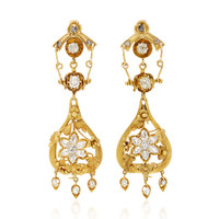 18K French Victorian Yellow Gold and Diamond Floral Motif Pendant Earrings | Moda Operandi