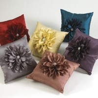 Laurent Jeweled Flower Decorative Throw Pillow. 16 Inch Square. One Piece. (Brick, One Size)