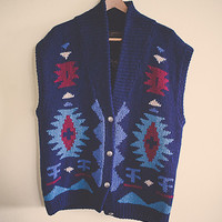 90's  Navy Blue Aztec Tribal Native Jumper Sweater Tunic Vest  Large Pattern Wool Oversized Cozy Comfy