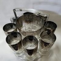 Filigree Embossed Silver Ombre Glasses in Original Holder with Ice Bucket  (883)