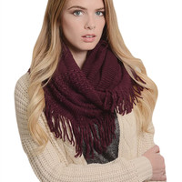 Merlot Jacquard and Ribbed Mix Infinity Scarf