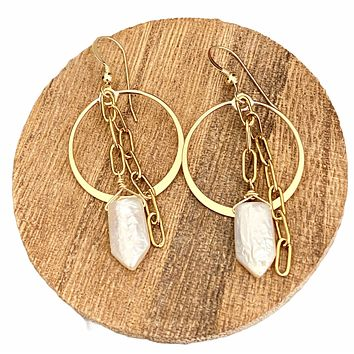 Mother of Pearl spear circle and chain earrings